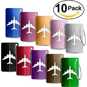 Foonii Viaggio bagagli Tag, Valigia bagagli Bag Tag ID viaggio borsa Tag Airlines bagagli etichette, Viaggio Holiday Deposito bagagli Tag - 10 pezzi (Colore diverso)