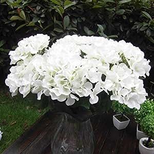 Soledì- 1 Mazzo di 7 Fiori Artificiali Ortensia, Fioritura in Seta, Bouquet Decorazione per Cerimonia Matrimonio Party Casa (Bianco)