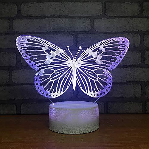 BDQZ Neuheit Wohnatmosphäre Dekor 7 Farben ändern 3D LED Leuchte Nachtlicht Schmetterling Formen Mädchen Schlafzimmer Touch Tischlampe