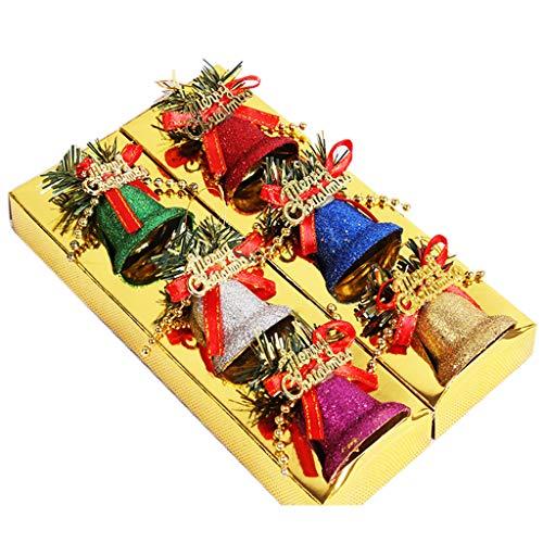 WT-BLVUVY Weihnachtsbaum-Anhänger Ornamente Dekoration Glöckchen Ornament Party Weihnachten Anhänger 6 Stück