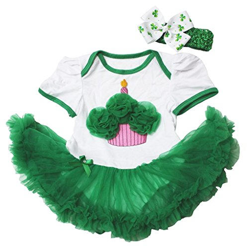 St Patrick Day Baby Dress Cupcake White Cotton Bodysuit Green Tutu Romper Nb-18m (6-12 (Neugeborenen Cupcake Kostüme)