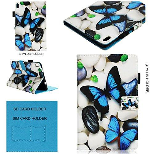 SZHTSWU Schutzhülle für Lenovo Tab4 8 Plus (8,0 Zoll) Tablet-PC, PU Leder Case Hülle Kunstleder Tasche Wallet Schutzhülle Flip Ledertasche mit Kartenfächern und Ständerfunktion, Blau Schmetterling (Tablet-cases Ein Für 8-zoll -)