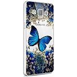 kompatibel mit Galaxy A3 Hülle,Galaxy A3 2015 Silikon Hülle,Crystal Clear Transparent Handyhülle TPU Silikon Backcover Case Blau Schmetterling Muster Schutz HandyHülle Tasche Hülle für Galaxy A3