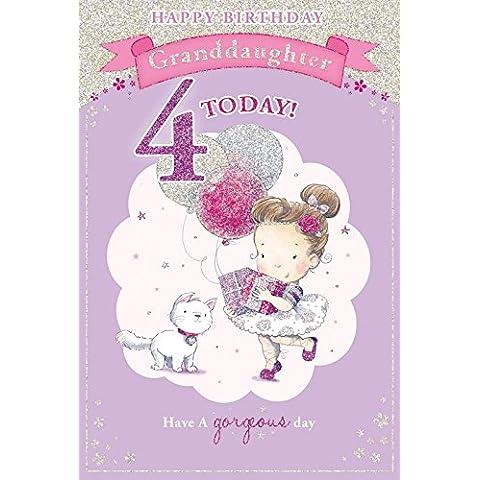 Biglietto di auguri per 4° compleanno della nipotina, motivo: bambina con pacchetto regalo, 23 x 15 cm