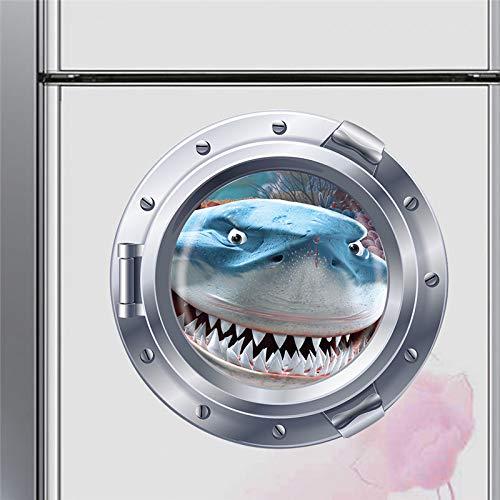 LETAMG Wandtattoos Lächelnde Submarine Bullaugen Wandaufkleber für Waschmaschine Dekoration DIY Peel and Stick Effekt Wandtattoos 3D