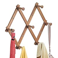 mDesign Expanding Wooden Peg Rail - Coat Rail with 7 Door Coat Hooks for Jackets, Robes, Scarves and Towels - Wall Mounted Coat Rack - Bamboo / Natural