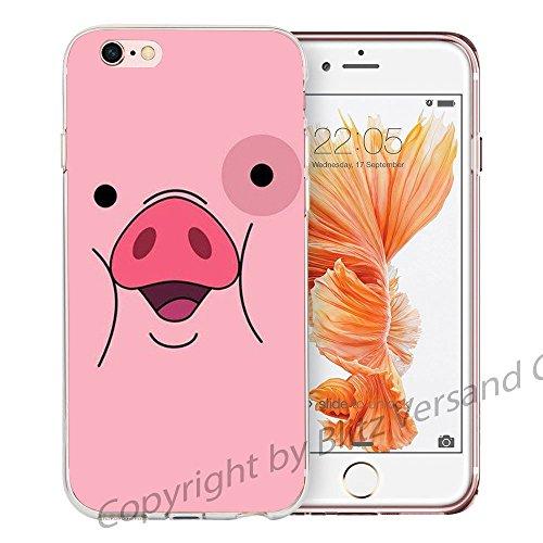 Blitz® LIPS motifs housse de protection transparent TPE caricature bande iPhone Bouche érotique M15 iPhone 6sPLUS Pig M7