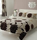 "BROWN KING SIZE DUVET SET WITH MATCHING CURTAINS 66 x 72"" & SHEET"
