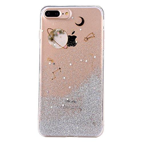 CrazyLemon Hülle für iPhone 7 Plus iPhone 8 Plus, 3D Schön Epoxy-Prozess Bling Funkeln Grau Sternenhimmel Galaxis Star Mond Planet Weich TPU Hülle für iPhone 7 Plus iPhone 8 Plus 5.5 Zoll - Grau