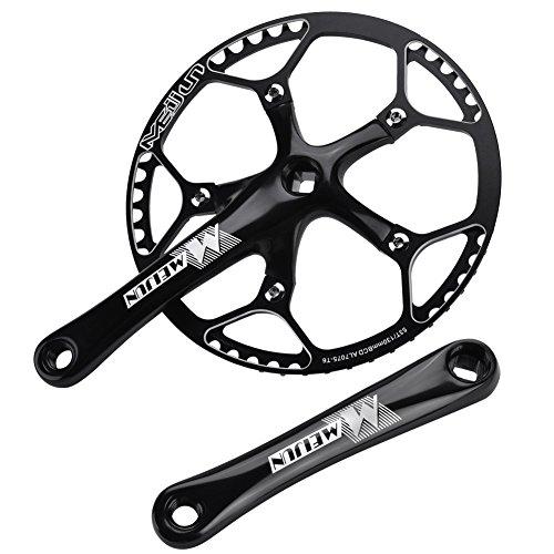 Dilwe guarnitura con movimento centrale per bici da strada montagna bicicletta Hollow Integral Single Speed Crank set, Nero