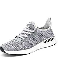 Decai Femmes Baskets Running Fitness Course Basses Athlétique Marche Gym Filets Chaussures Respirant Maille À Lacets Leger Sport Run Baskets Blanc Noir Rose 35-44 EU