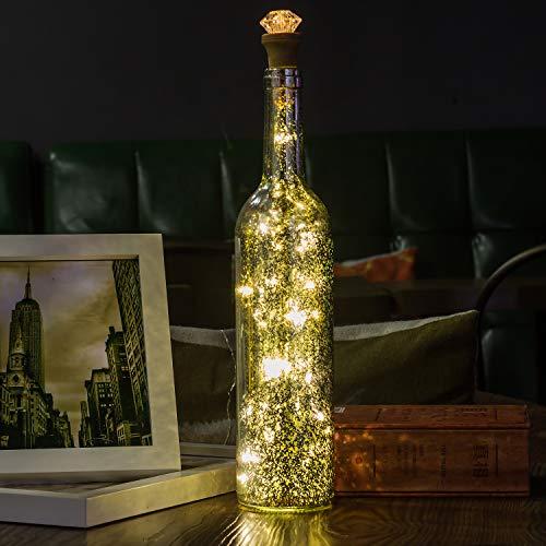 Flaschen-Licht, HUAFA Weinflaschen Lichter (Silber Flasche), USB Wiederaufladbar.