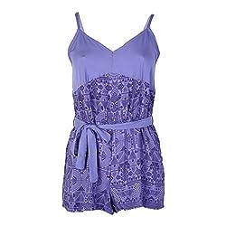 Octave Ladies 100% Viscose Tile Print Short Strappy Playsuit/Jumpsuit [Size 8-10, Colour Purple with Dark Purple Print]