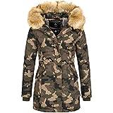 Marikoo KARMAA Damen Jacke Parka Mantel Winterjacke warm gefüttert Luxus XXL Kunstpelz 7 Farben, Größe:S - 36;Farbe:Camouflage
