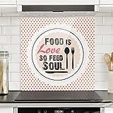 Bilderwelten Spritzschutz Glas - No.KA27 Food Is Love - Quadrat 1:1 Wandbild Küchenrückwand Küchenspiegel Küchenspritzschutz Glasrückwand Küche Spritzschutz Herd, Größe HxB: 59cm x 60cm