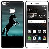 FJCases Negro Caballo Semental Animal Carcasa Funda Rigida para Huawei P9 Lite