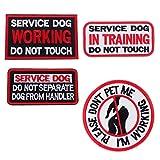 D DOLITY 4 Stü Bestickt Service Dog Patches Hundegeschirr Weste Haken Schleife Abzeichen