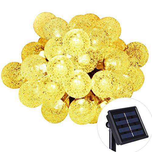 Isightguard Solar Powered Luces 30 Led 19.68 pies Bola de Cristal Cadena Luz de Patio Jardín al Aire Libre, Navidad, árbol de Navidad, Decoración de Vacaciones (Blanco cálido)