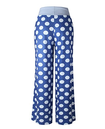 FASTYLING Damen Sporthose lang Freizeithose Ladies Floral Print Wide Leg Long Trousers Blau4