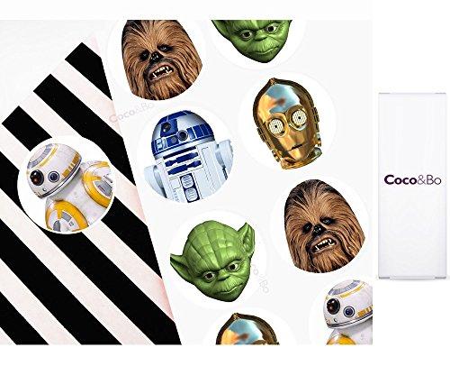 10x Coco & Bo-Star Wars Helden Party Aufkleber-Ideal für Gastgeschenke, Mitgebsel oder lädt. BB8R2D2C3PO Yoda und Chewbacca Thema Party Dekorationen & Cake Zubehör