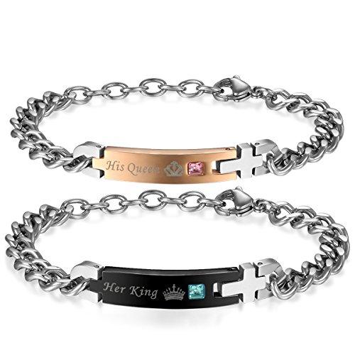 *JewelryWe Schmuck 2pcs Herren Damen Partner Armband, Lieben Freundschaftsarmband Valentinstag Geschenke,*