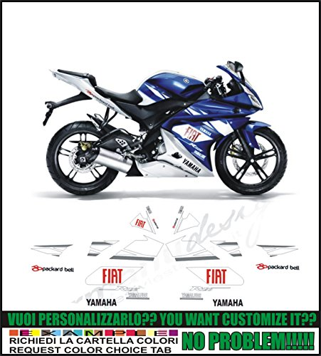Kit adesivi decal stikers YAMAHA YZF R125 REPLICA MOTO GP FIAT (ability to customize the colors)