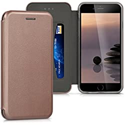 kwmobile Funda para Apple iPhone 6 / 6S - Flip cover Case para móvil en cuero sintético - Estilo libro plegable en oro rosa