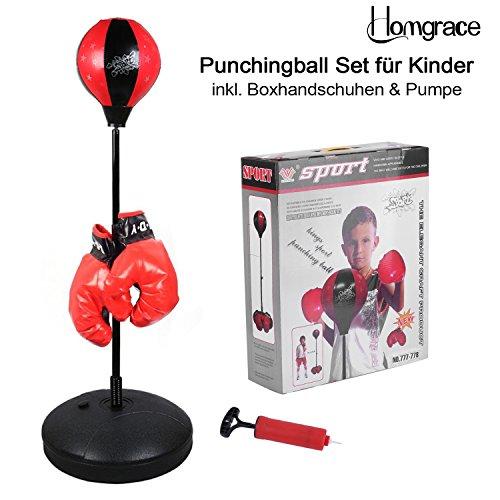 Homgrace Punchingball Boxen Set mit Boxhandschuhen für Kinder Jugend, Höhenverstellbar von 70 bis 105 cm, Gutes Boxtraining für Kinder