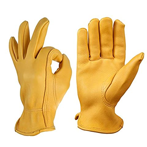 Deerskin Motorcycle Gloves, OZERO Grain Leather Farming Glove for Gardening, Carpentry, Driving, Shooting, Hunting - Extremely Soft and Perfect Fit - Durable Gunn Cut and Keystone Thumb (Yellow, M)