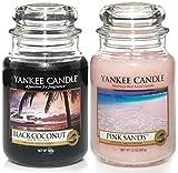 Yankee Candle, offizielles Set, 2 Duftkerzen im unverkennbaren Glas, groß – Black Coconut & Pink Sands
