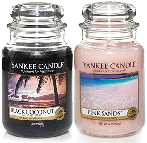 Yankee Candle, offizielles Set, 2 Duftkerzen im unverkennbaren Glas, groß - Black Coconut & Pink Sands