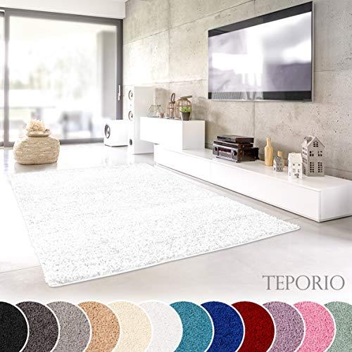 (Teporio Shaggy-Teppich | Flauschiger Hochflor fürs Wohnzimmer, Schlafzimmer oder Kinderzimmer | einfarbig, schadstoffgeprüft, allergikergeeignet (Weiss - 150 x 150 cm))