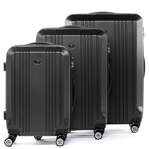 FERGÉ Juego de 3 maletas de viaje CANNES Trolley funda rígida 4 ruedas gris
