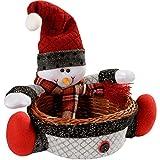 WeRChristmas - Cesta de mimbre con muñeco de nieve para decoración navideña (18 cm)