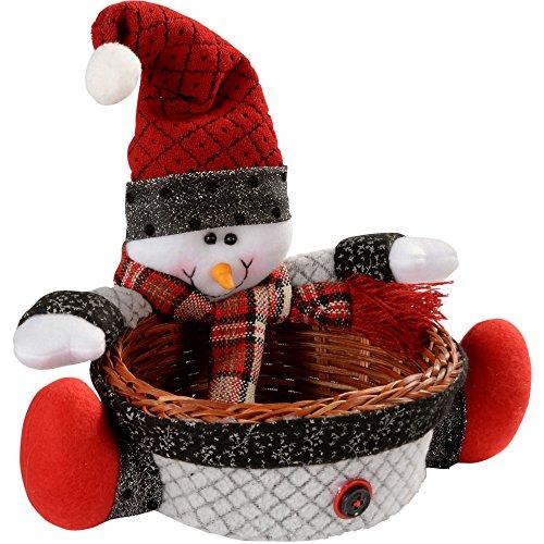 Werchristmas cestino natalizio, centrotavola/soprammobile, con pupazzo di neve, multifunzionale, dimensioni: 18 cm
