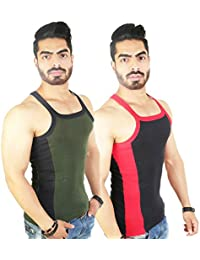 Zimfit Men's Gym Vest 112(Green_Black)