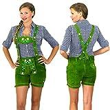 Grüne Damen Trachten Lederhose mit Trägern kurz Größe 36