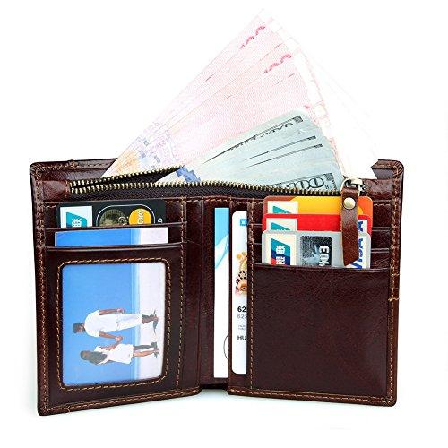 H&W RFID Blocking Bifold Original Leder Brieftasche Mit Reißverschluss Tasche Braun kurz Braun(lange)
