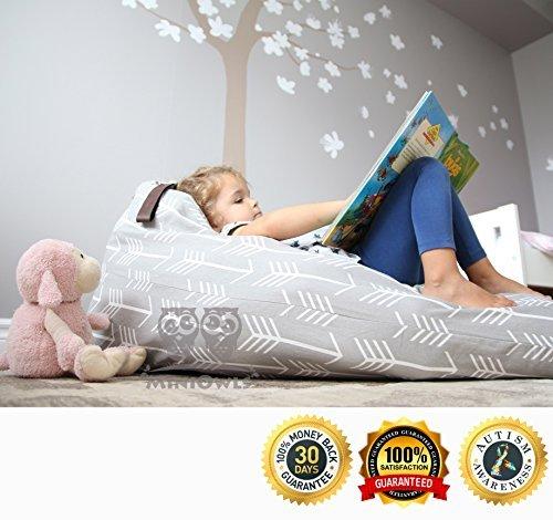 MiniOwls Spielzeug Aufbewahrung Sitzsack–Cover–Passend für 100l/26Gal–Stofftier Organizer in Grau–Groß, Weich und Bequem, der schafft Cozy Liege Bett–3% Spende zu Autismus Foundation.