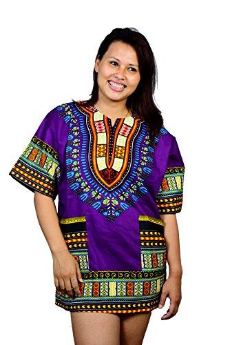 Unisex kurtakurti,kaftan african traditional dashiki,purple colour boho print shirt, can be worn...