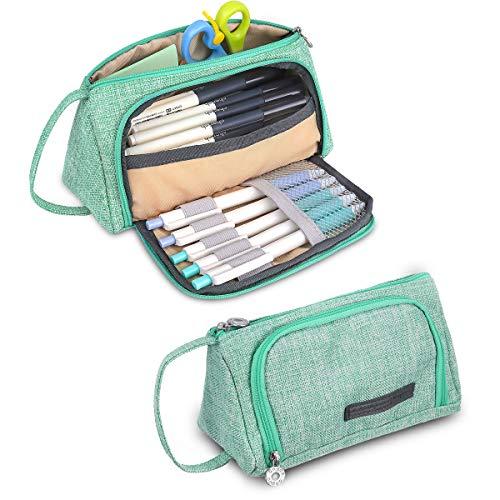 multifuncional estuche de lápices estuches escolar adolescente,cremallera gran capacidad portalápices plegable ,lino bolsa maquillaje para estudiantes chicas para escuela y oficina 20 x 9 x 11 cm