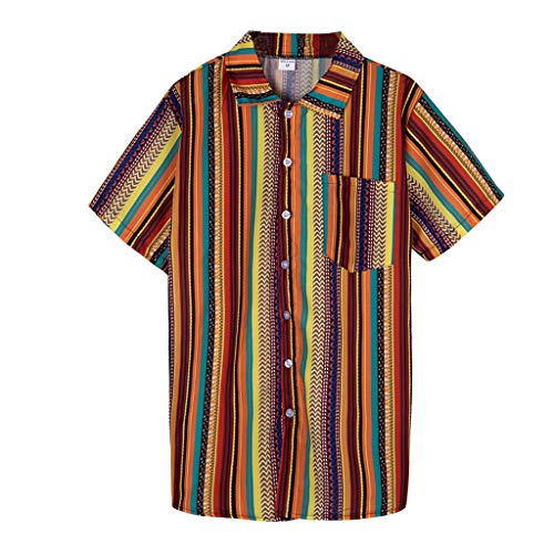 Herren Hawaiihemd Kurzarm Aloha Freizeit Hemd Button Down Graphic Hemden Strand Shirts