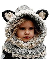 f3b78945f94 Freessom Bonnet Echarpe Set Hiver Cagoule Renard Unisexe Bebe Enfant Garcon  Fille Mignon Kawaii Chaud Tricote