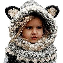 6ee47e05227 Freessom Bonnet Echarpe Set Hiver Cagoule Renard Unisexe Bebe Enfant Garcon  Fille Mignon Kawaii Chaud Tricote