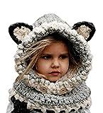 Freessom Bonnet Echarpe Set Hiver Cagoule Renard Unisexe Bebe Enfant Garcon Fille Mignon Kawaii Chaud Tricote Laine Chapeau Bobs Protection D'oreilles (Gris)