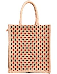 H&B Unisex Multipurpose Jute Lunch Bag With Zip - Polka-Print,jute Love(Polka Dots, Dimensions:Size, Height= 12...
