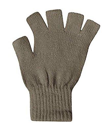 Damen super weiche Warm Feinstrick Thermische Fingerlose Handschuhe Winter-TAUPE Thermisches Radfahren-handschuhe Frauen