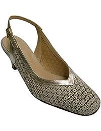 0d1c7ad12f8 Zapato Mujer Abierto atrás simula Zapato Calado Reborde en champán Pomares  Vazquez ...