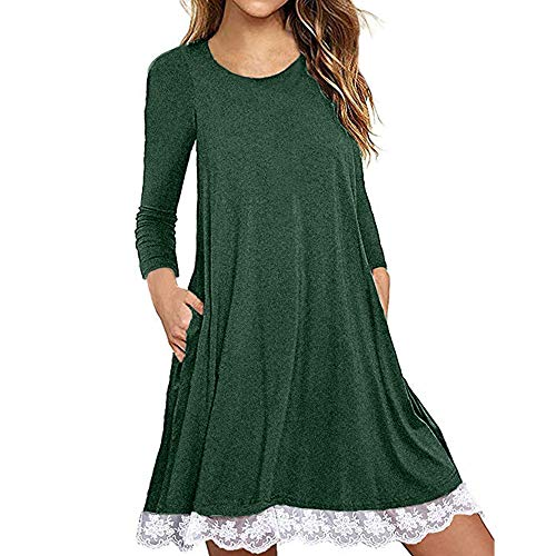 MRULIC Frauen Rundkragen Casual Spitze Ärmelloses Kleid Knielang Lose Party Blousedress...