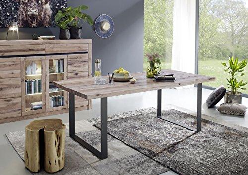 Table à manger 180x90cm - Métal et Bois massif de chêne sauvage huilé (Bianco) - MONTREUX #214